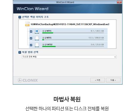 WinClon 윈클론 하나의 파티션 또는 디스크 전체 복원